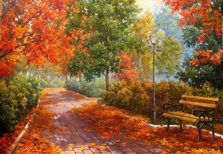Maria Gordeeva. Autumn valley - art, autumn, tree, maria gordeeva, nature