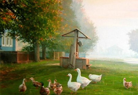 V.Palachev. Rustic morning - animal, grass, art, chicken, v palachev