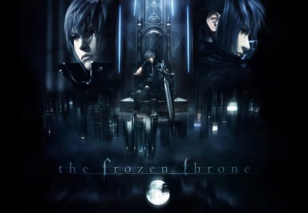 The Frozen Throne - games, noctis lucis caelum, male, boots, noctis, ff13, video games, dark background, moon, final fantasy series, final fantasy versus xiii, throne, final fantasy xiii, weapon, sword, final fantasy 13