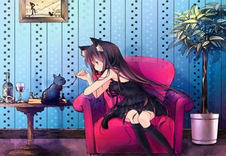 Playing w/Kitty - kitty, nice, anime, girl