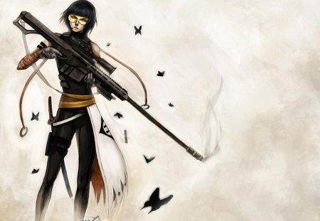 Shinigami Assassin - bleach, female, butterflies, assassin, rifle, shinigami, gun, girl, haori, anime, lone, soi-fon, weapon, soifon, sword, black hair