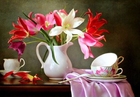Still Life - photography, white, red, tulip, sweet, pink tulip, white tulip, cup, flowers, petals, vase, nature, beauty, beautiful, lovely, pink tulips, white tulips, pretty, still life, red tulips