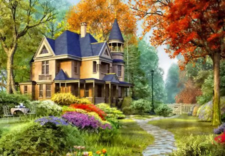 Countryside house - colorful, autumn, cottage, beautiful, villa, bushes, tea, leaves, nice, calm, painting, path, flowers, beauty, countrysiousde, he, table, rest, forest, lovely, holiday, relax, greenery, trees, coffee, peaceful, summer, alley, castle, branches