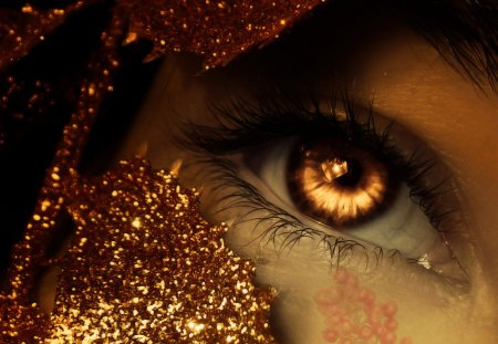 Eye - fire, lines, art, abstract, eye, glitters, creative