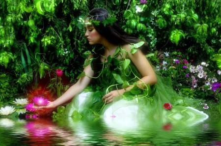 Green fairy - lake, romantic, magic, lillies, forest, woman, fairy, lights, pond, lady, brunette, calm, love, flowers, water, nice, nature, trees, reflection, beautiful, greenery, lovely, enchanted, girl, leaves