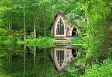 Charming Church Nestled in the Woods - reflection, church, lake, nature