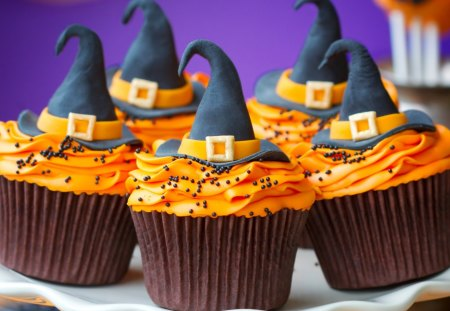 Witch hat cupcake - cupcake, holiday, food, hat, witch hat, sweet
