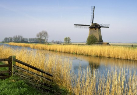 Holland Windmill - windmill, water, holland, field