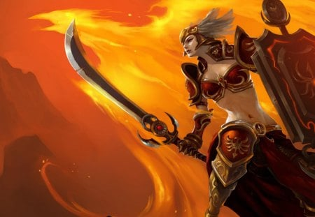 Leona - fire, leona, orange background, shield, sword, warrior, video games, games, phoenix, league of legends, female, weapon, armour, helmet