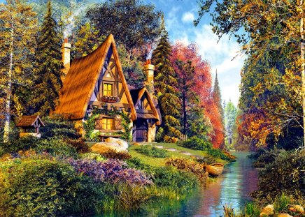 Fairytale cottage - grass, lake, stream, painting, colorgul, boat, flowers, sky, summer, trees, cabin, reflection, fishing, greenery, fantasy, fairytale, river, clouds, cottage, house, riverbank, shore