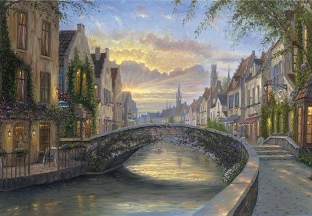 Reflection of Belgium - painted, art, beauty, landscape