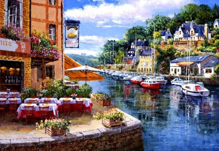 Corner of paradise - greenery, pleasant, cabins, pretty, cottages, boats, beautiful, summer, freshness, riverbank, chairs, river, paradise, vacation, reflection, cafe, lovely, dock, town, restaurant, rest, coffee, shore, pier, village, holiday, clouds, nice, houses, sky, ralx, painting, corner