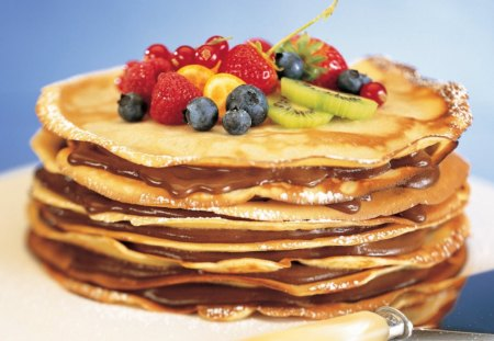Yummy Looking - fruit, berries, syrup, yummy, pancakes, stack
