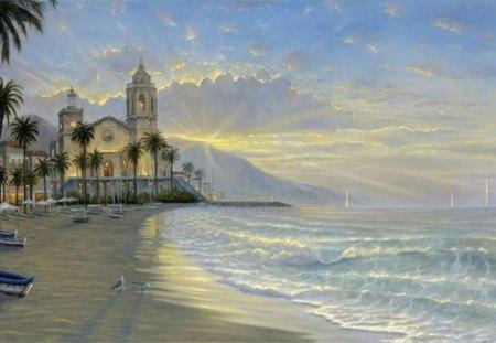 seascape - seagulls, house, waves, sea, beach
