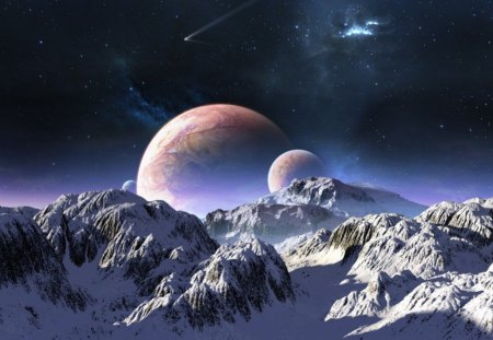 distant world - moons, stars, gas cloud, snow, shadows, mountains, planet, comet