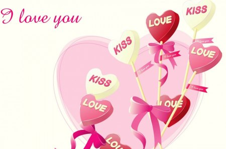 I love you! - hearts, pink balloons, balloons, kisses, abstract