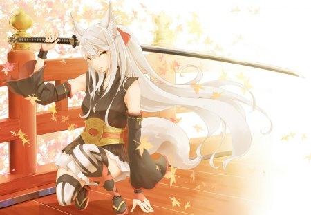Fox Girl Sword Other Anime Background Wallpapers On Desktop