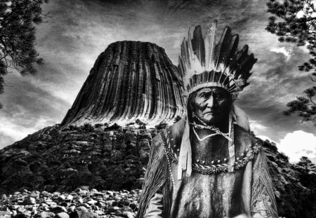 Geronimo art - art, wallpaper, native american art, devils tower, mountain, geronimo