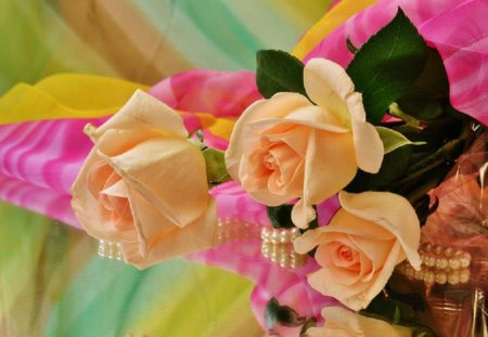 Roses and Romance - flowers, peach, romance, roses, pearls