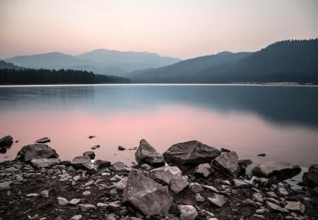 Sunset at Lake Siskiyou - siskiyou, sunset, overcast, lake