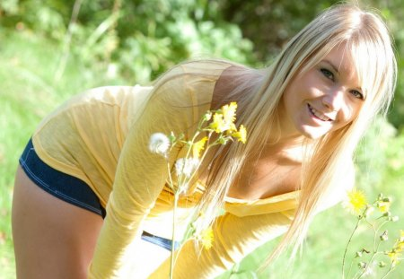 Flowers - flowers, countryside, model, pretty, long hair, blonde, yellow