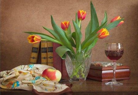 Still life - wine, apple, tulips, still, life, table