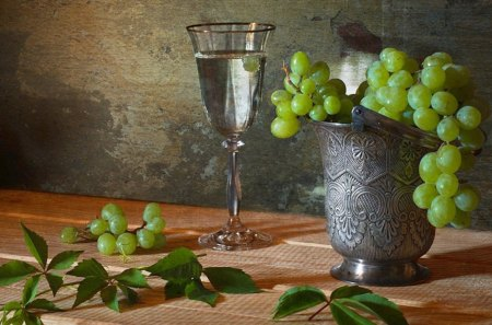 Still life - wine, still, life, grape, table