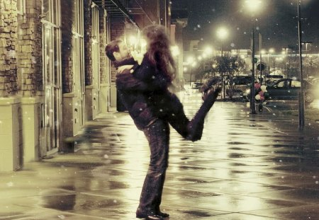 Bliss - autumn, nice, dark, man, story, happiness, beautiful, woman, kiss, night, bliss, rain, love, people