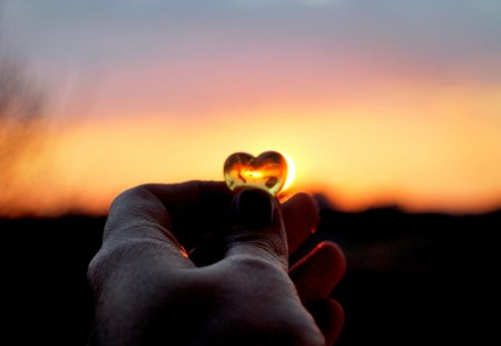 SHOW ME YOUR LOVE! - hand, sunset, heart, photo