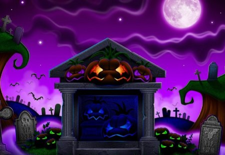 Halloween Night - night, purple, spooky, halloween