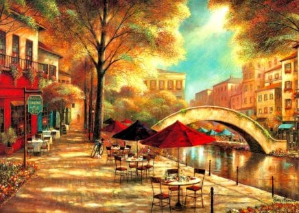 Riverwalk cafe - relax, cafe, town, painting, walk, rest, coffee, pleasant, sunny, flowers, bridge, nice, summer, street, trees, beautiful, lovely, river, riverwalk, shops, morning, riverbank
