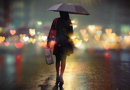 heart from light - hearts, woman, lights, rain, umbrella