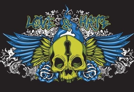 Love & Hate - tattoo, love, hate, digital art, skull