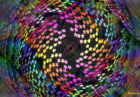 Allstar 100 color Wallpaper Celebration :D - hearts, celebrate, 100, pink, red, blurring, orange, violet, fractal, teal, blue, allstar, one hundred, golden yellow, purple, stars, indigo, swirly, green, co11ie