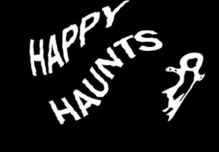A Haunting Greeting - ghost, black, white, halloween