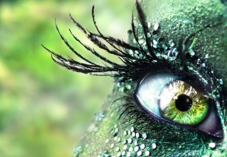 Green Eye - eyelashes, sparkles, green, iris, eye, makeup