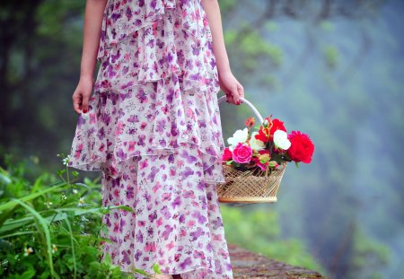 Flowers for You - colorful, path, sweet, forest, dress, pathway, woman, for you, female, lady, flowers, hand, hands, woods, romance, girl, purple dress, leaves, grass, romantic, roses, rose, with love, colors, petals, nature, beauty, beautiful, lovely, purple, pretty, basket, green