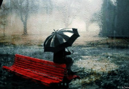 Waiting In Rain - waiting, girl, bench, water, wahab hameed, smart aleck, rain, umbrella