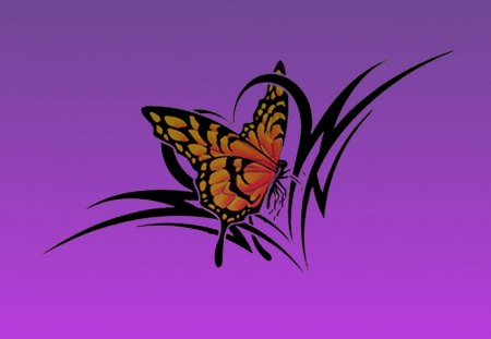 butterfly tribal - butterfly, color, tattoo, tribal, sewenka, heart
