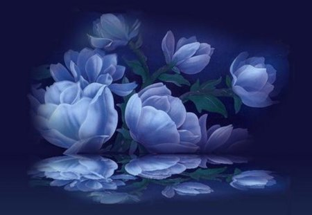 blue flowers - background, blue, dark, flowers, painting