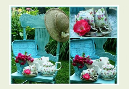 garden collage - flowers, colors, still life, hat, garden, table