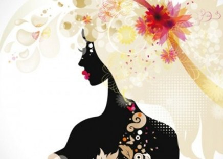 silhouette - beautiful, vector, girl, fashionable, silhouette