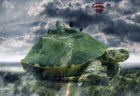 Turtle island - rocks, house, grass, ladder, turtle, sky, clouds, 3d, island, animals