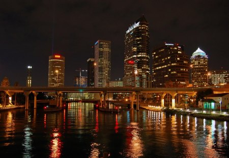 City Lights - reflection, water, night, skyscraper