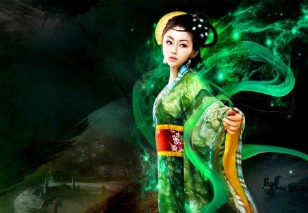 ORIENTAL PRINCESS - green, art, princess, oriental