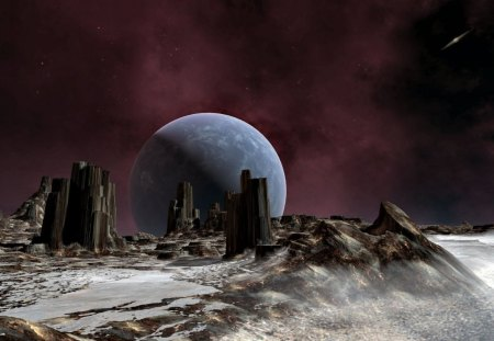 distant world - stars, gas cloud, galaxy, moon, planet, rock formations
