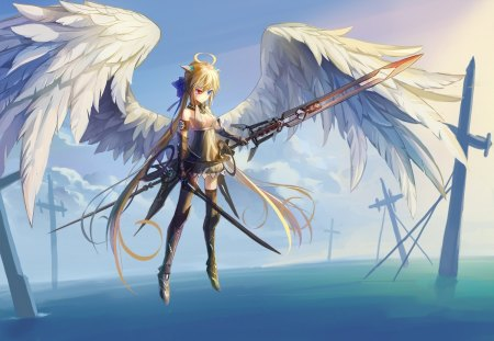 Angel Sword - feather wings, hot, anime girl, female, wings, cloud, angel, blonde hair, sky, sexy, break sword, armor, water, cool, warrior, angel sword, flying, hair bow, pony tail