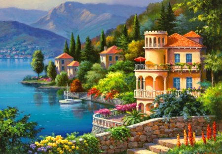 Village on lakeshore - colorful, lake, town, painting, slopes, coast, sea, mountain, cottages, sunny, flowers, blue, lakeshore, nice, summer, nature, trees, houses, beautiful, lovely, pretty, village, cabins, view, shore