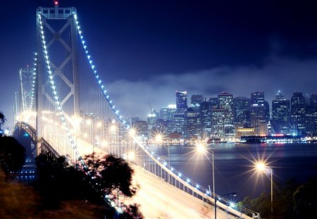 BRIDGE LIGHTS - bay bridge, california, night, san francisco