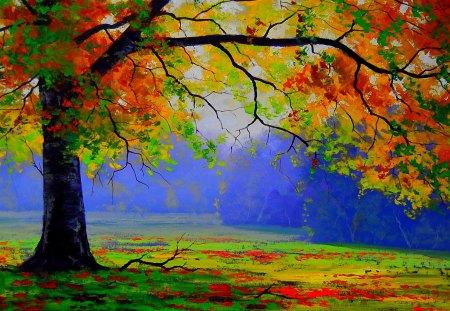 AUTUMN TREE - autumn, wood, branches, tree, nature, artsaus
